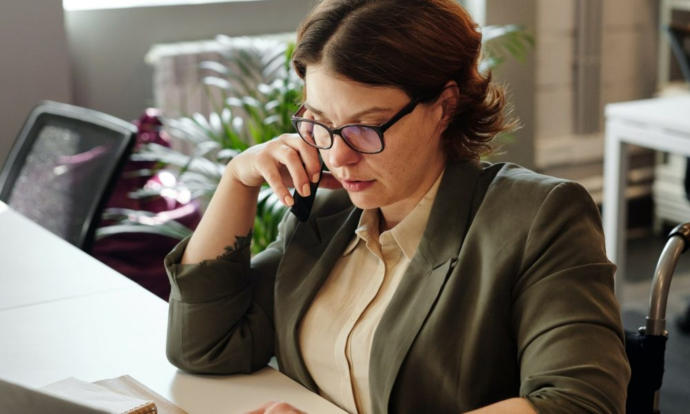 woman on business call in the office